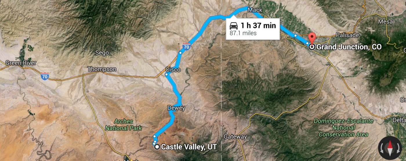 castle valley to grand junction