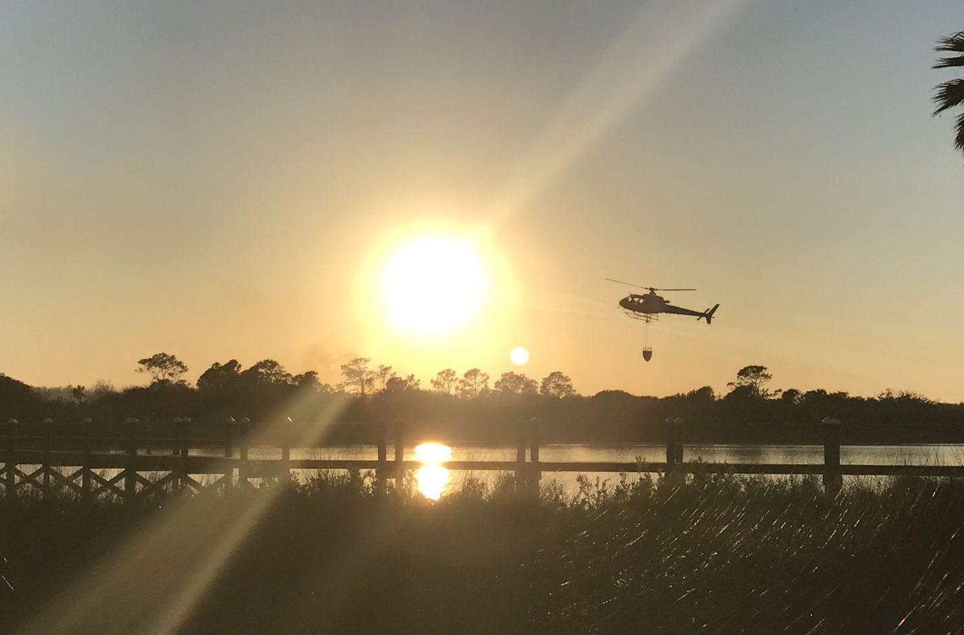A helicopter near the river in Florida